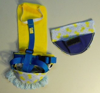 Yellow Ducky Duck Diaper Holder Harness w/Lace back side