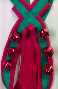 Sled Dog Harness Red Green w/ Bells close up