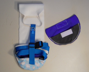 A Blue Bunny Print Duck Diaper Holder Harness with Leash Ring white front
